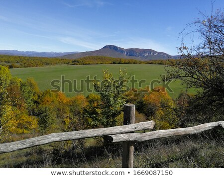 Scenic panorama of meadows and plateaus with green grass in mountainous terrain Stock photo © ElenaBatkova
