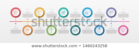 Timeline template with circle buttons Stock photo © orson