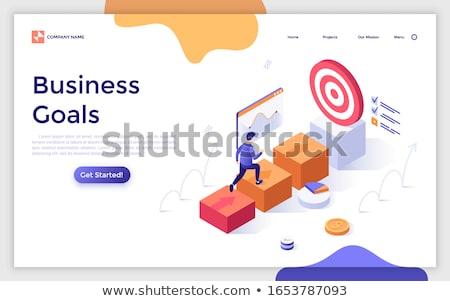 Ziele Ziele Landung Seite Geschäftsleute arbeiten Stock foto © RAStudio