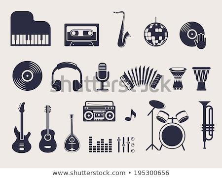 Dzsessz blues ikon szett zene ikon gyűjtemény háló Stock fotó © ayaxmr