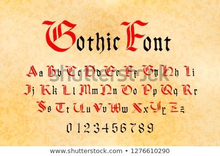 красный черный Готский шрифт набор средневековых Сток-фото © evgeny89
