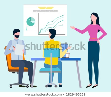 Brokers Presenting Board with Scheme, Cooperating Stock photo © robuart