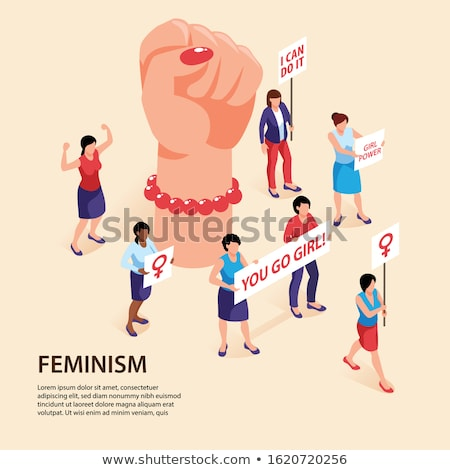 Feminism Woman Power Isometric Icons Set Vector Stock photo © pikepicture