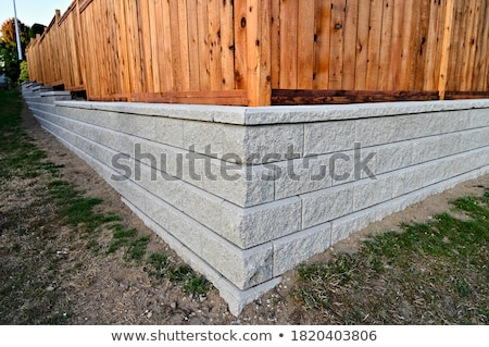 Wood Stone Fence Perspective Stock photo © bobkeenan