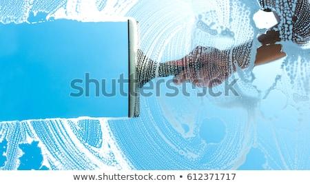 lavagem · windows · mulher · jovem · mulher · nuvens · vidro - foto stock © choreograph