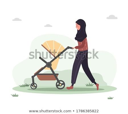 Foto stock: Mulher · praça · andar · família · criança · mãe