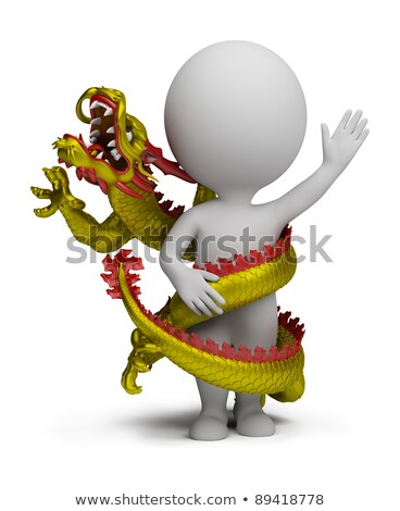 3d small people   dragon twists around stock photo © anatolym