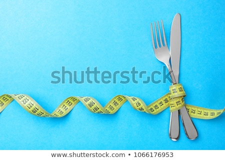 フォーク · 巻き尺 · 光 · 背景 · 脂肪 · 白 - ストックフォト © devon