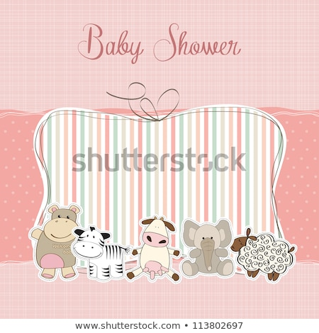 childish baby girl shower card with hippo toy Stock photo © balasoiu