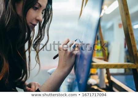 портрет · женщины · художника · кисти · домой - Сток-фото © photography33