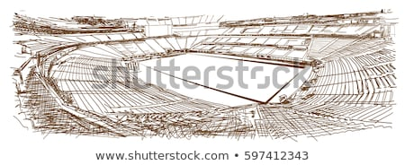 3d Football soccer field pitch vector with racetrack Stock photo © experimental