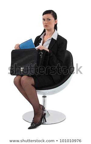 vrouw · vergadering · stoel · aktetas · kleur · jonge - stockfoto © photography33