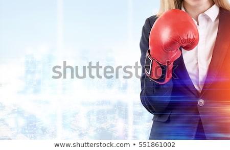 üzletasszony · harcol · boxkesztyűk · oldalnézet · portré · szürke - stock fotó © photography33