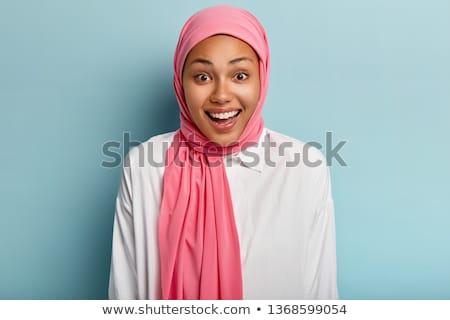 meisje · hoofddoek · mooie · vrouw · roze · lingerie · gekleurd - stockfoto © carlodapino