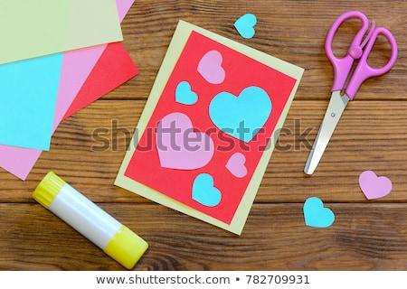 child in love Valentine card Stock photo © marimorena