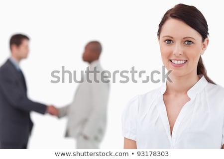 Mosolyog elarusítónő kezek kereskedés partnerek mögött Stock fotó © wavebreak_media