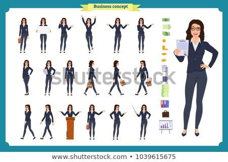 empresária · em · pé · sorrir · branco · feliz · executivo - foto stock © wavebreak_media