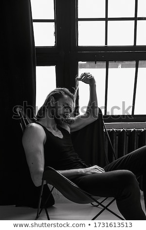 Szexi fiatal barna hajú hosszú hajú nő visel Stock fotó © dash