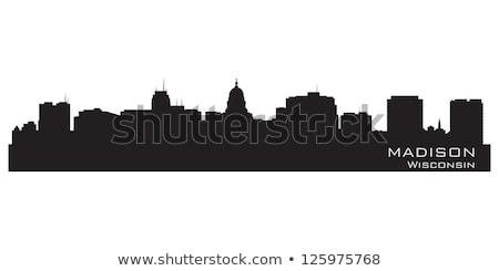 Wisconsin Skyline détaillée ville silhouette bâtiment Photo stock © Yurkaimmortal