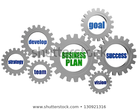 business plan and concept words in silver grey gearwheels Stock photo © marinini