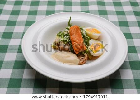 Steak crevettes dîner nappe alimentaire Photo stock © dacasdo