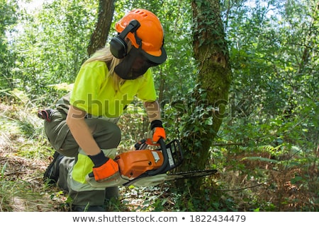 woman with a saw and timber stock photo © photography33