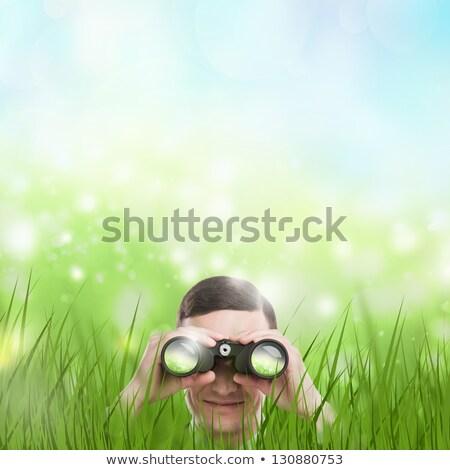 mutlu · işadamı · dürbün · beyaz · adam - stok fotoğraf © hasloo