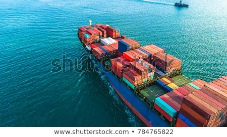 грузовое судно порта ждет воды синий путешествия Сток-фото © taden