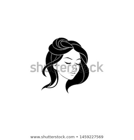 Kadın stüdyo poz turuncu siyah genç Stok fotoğraf © studio1901