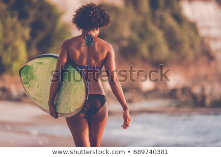 sörfçü · kız · güzel · plaj · sörf · kadın - stok fotoğraf © elisanth