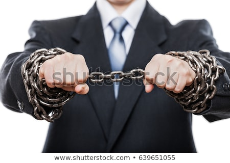 Stock photo: Businessman with hands tied in ropes