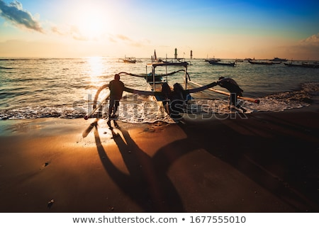 pêcheur · bateau · bali · plage · poissons · soleil - photo stock © joyr