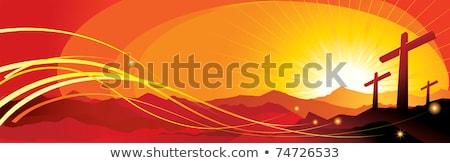 Jesus cristo pôr do sol ilustração nuvens Foto stock © sognolucido