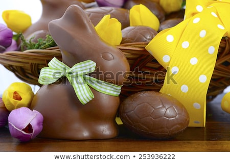 Easter bunny with egg and cane Stock photo © heliburcka