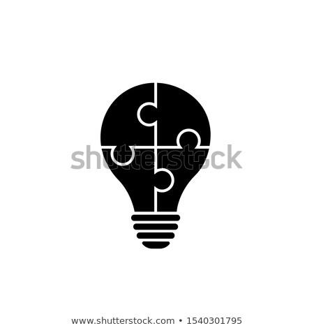 Idee puzzel stuk gloeilamp teken ontwerp Stockfoto © marinini