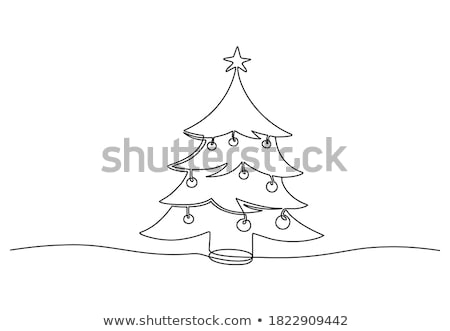 simple vector christmas tree made from one line stock photo © orson