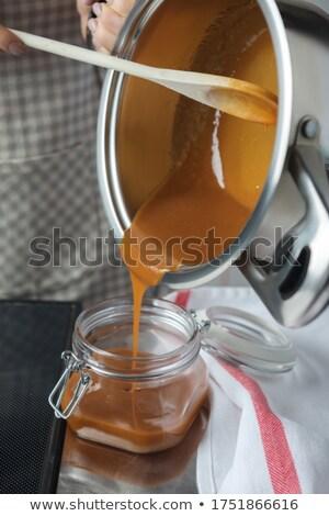 karamel · voedsel · ei · achtergrond · cake · tabel - stockfoto © hofmeester