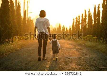 Mutter Kind Fuß Wald Sommer Himmel Stock foto © Arrxxx