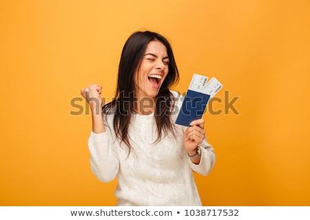 девушки паспорта иллюстрация улыбка аэропорту чемодан Сток-фото © adrenalina