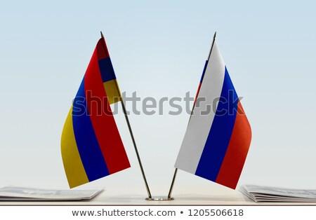 Stock photo: Russia and Armenia - Miniature Flags.