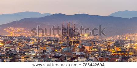 Barcelona városkép sziluett gyönyörű naplemente Spanyolország Stock fotó © joyr