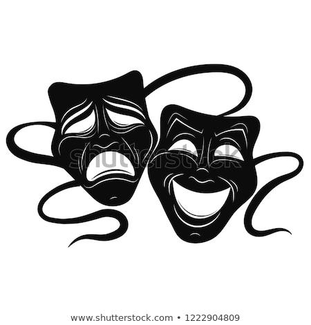 Vígjáték tragédia maszkok színház tekercsek fehér Stock fotó © Irisangel