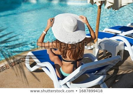 Nők nap vmi mellett bent medence lány Stock fotó © cookelma