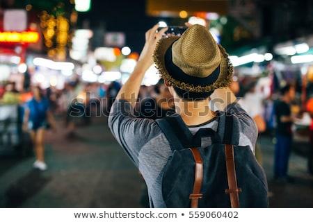 Hátizsákos turista elvesz fotó vektor terv illusztráció Stock fotó © RAStudio