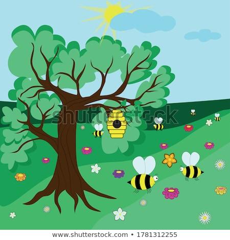 verzamelen · honing · bee · roze · bloem · schoonheid - stockfoto © szefei