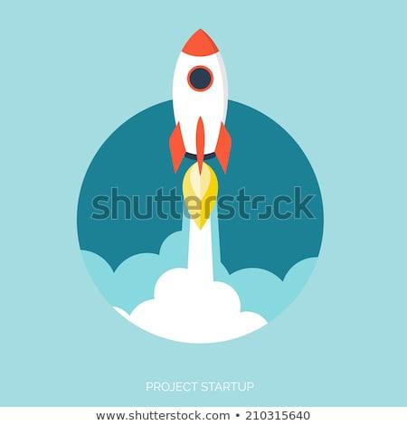 foguete · navio · isolado · branco · azul · laranja - foto stock © cidepix