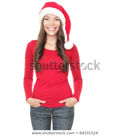 Adorable young woman posing in Santa Claus Hat stock photo © dash