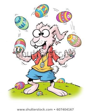 Rabbit Juggling Easter Eggs Stock photo © Lightsource