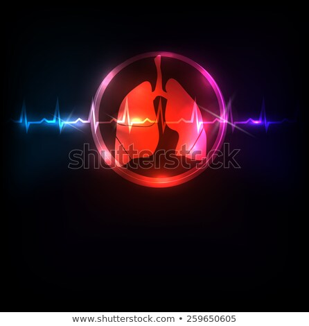 lungs in the round shape and normal heart beat rhythm stock photo © tefi