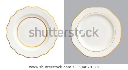 Fehér vacsora tányér dekoratív peremszegély virágmintás Stock fotó © Digifoodstock